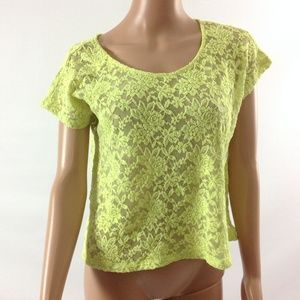 Women's Top Lace Green Scoop Neck Size M